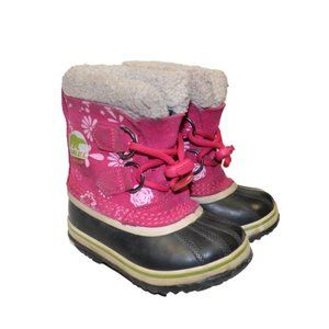 Sorel Youth Caribou Pink Flower Winter Snow Boots